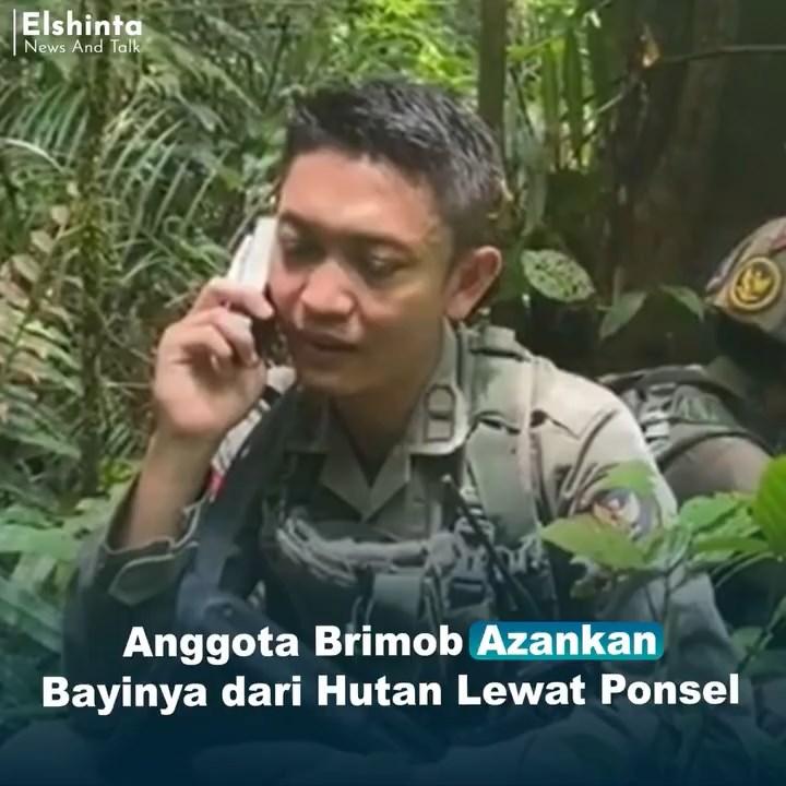 Anggota Brimob azankan bayinya dari hutan belantara