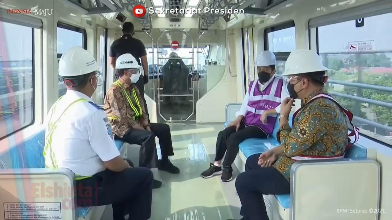 Presiden Jokowi tinjau Stasiun LRT TMII dan Stasiun Harjamukti Cibubur